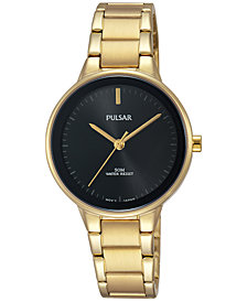 Pulsar Women's Easy Style Gold-Tone Stainless Steel Bracelet Watch 30mm PRS676