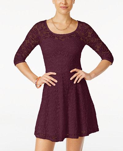 Material Girl Lace Illusion Skater Dress - Juniors Dresses - Macy\'s
