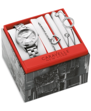 Caravelle New York by Bulova Women's Stainless Steel Bracelet Watch with Three Bracelets Box Set 30mm 43X101