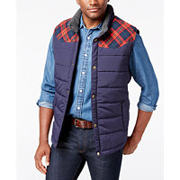 Weatherproof Vintage Classic Fit Men's Big and Tall Pieced Plaid Vest (Multiple Colors)