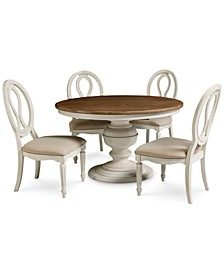 Sag Harbor Round Dining 5-Pc. Set (Expandable Round Dining Pedestal Table & 4 Side Chairs)
