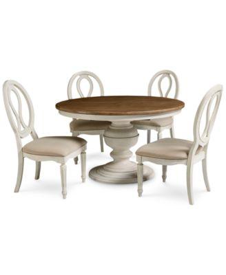 sag harbor round dining furniture 5pc set expandable round dining pedestal
