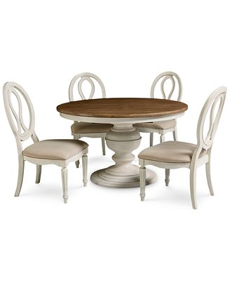 Expandable Furniture sag harbor round dining furniture, 5-pc. set (expandable round