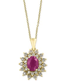 Amoré by EFFY® Certified Ruby (1-3/8 ct. t.w.) and Diamond (3/4 ct. t.w.) Pendant Necklace in 14k Gold, Created for Macy's