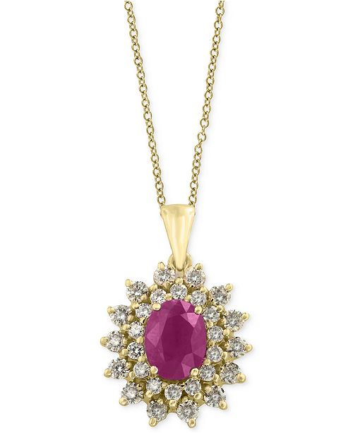 EFFY Collection Amoré by EFFY® Certified Ruby (1-3/8 ct. t.w.) and Diamond (3/4 ct. t.w.) Pendant Necklace in 14k Gold, Created for Macy's