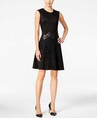 Calvin Klein Faux Suede Lace Fit Amp Flare Dress Dresses