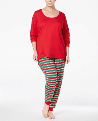 Family Pajamas Plus Size Women's Holiday Stripe Knit ...