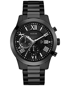 Men's Chronograph Black Stainless Steel Bracelet Watch 45mm U0668G5