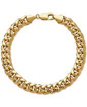 Italian Gold Men's Cuban Link Bracelet in 10k Gold