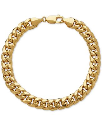 Italian Gold Men s Cuban Link Bracelet in 10k Gold Bracelets