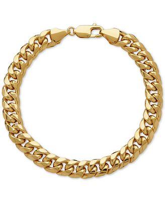Italian Gold Men S Cuban Link Bracelet In 10k Gold Bracelets