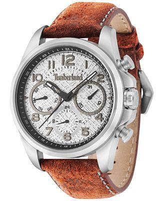 Timberland Men's Smithfield Burnt Orange Leather Strap Watch 46x57mm TBL14769JS13