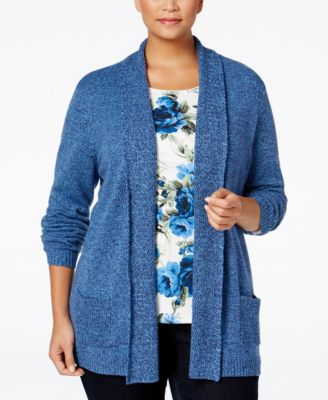 Karen Scott Plus Size Shawl-Collar Cardigan, Only at Macy's