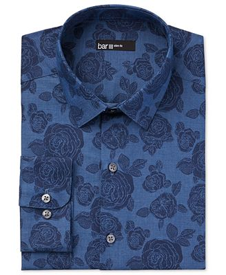 Bar III Men's Slim-Fit Denim Rose Print Dress Shirt, Created for ...
