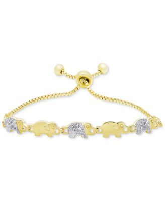 Image of Diamond Accent Elephant Slider Bracelet in Gold-Plated Brass