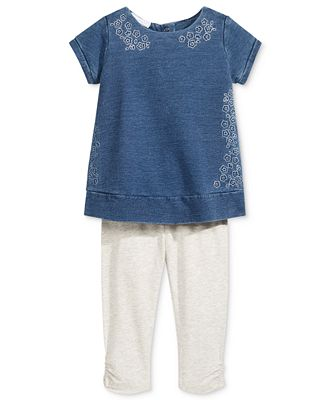 First Impressions 2-Pc. Floral Sweatshirt Tunic & Leggings Set, Baby Girls (0-24 months), Only at Macy's