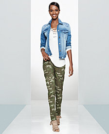 WILLIAM RAST Denim Jacket, Lace-Up Top & Camo Utility Pants