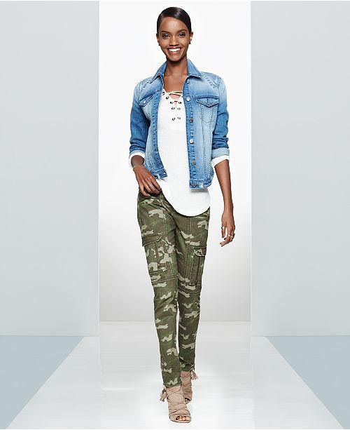 3aefa2d89f9de ... WILLIAM RAST Denim Jacket, Lace-Up Top & Camo Utility Pants ...