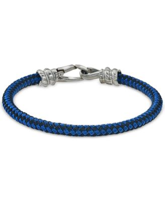 Blue and Black Woven Bracelet in Stainless Steel, Created for Macy's