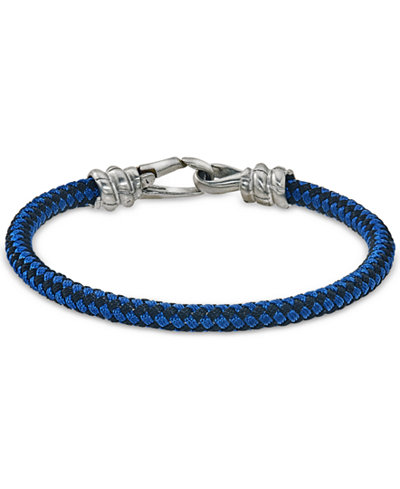 Esquire Men S Jewelry Blue And Black Woven Bracelet In