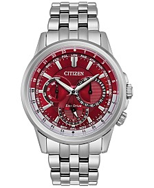 citizen watches macy s citizen eco drive men s calendrier stainless steel bracelet watch 44mm bu2021 51x a