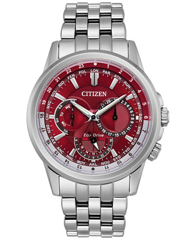 Citizen Eco-Drive Men's Calendrier Stainless Steel Bracelet Watch 44mm BU2021-51X, A Macy's Exclusive