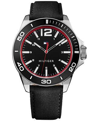 Tommy Hilfiger Men's Table Black Nylon Strap Watch 45mm 1791284