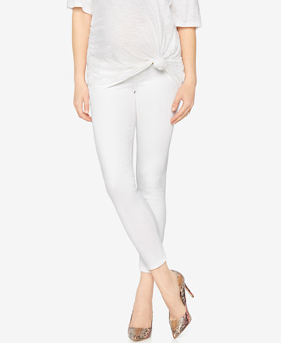 AG Jeans Maternity Cropped White Wash Skinny Jeans - Maternity ...