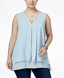 Monteau Trendy Plus Size Tiered Top
