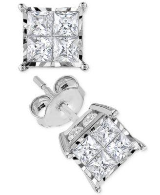 Diamond Quad Stud Earrings (1-1/2 ct. t.w.) in 14k White Gold