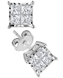 Diamond Quad Stud Earrings in 14k White Gold
