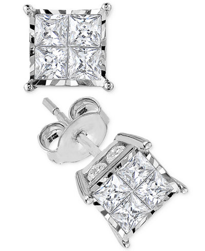 TruMiracle® Diamond Quad Stud Earrings (1-1/2 ct. t.w.) in 14k White Gold