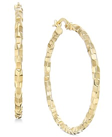 Square Textured Polished Hoop Earrings in 14k Gold