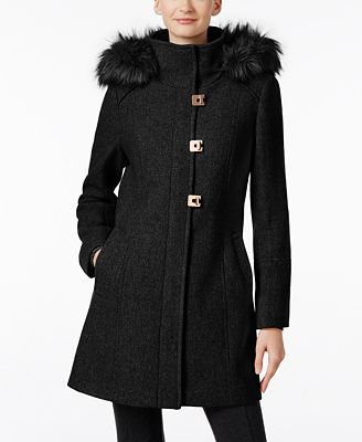 Calvin Klein Faux-Fur-Trim Wool-Blend Walker Coat