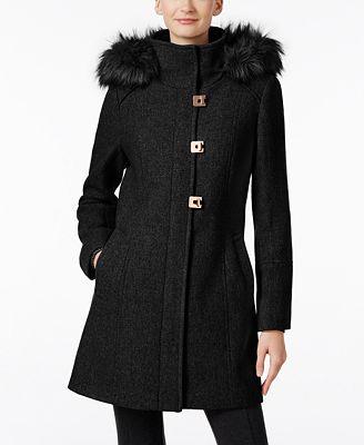 Calvin Klein Faux-Fur-Trim Wool-Blend Walker Coat - Coats - Women ...