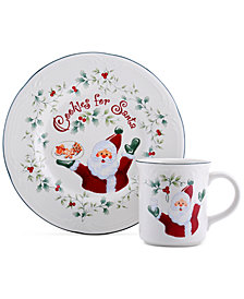 Pfaltzgraff Winterberry Collection 2-Pc. Cookie for Santa Plate & Mug Set