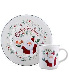 Pfaltzgraff Winterberry 2-Pc. Cookie for Santa Plate & Mug Set