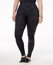 SPANX Women's  Plus Size Look At Me Now Camo Tummy Control Leggings