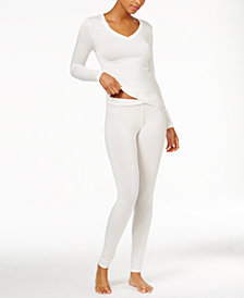Cuddl Duds Softwear Long Sleeve V-Neck Top & Softwear Stretch Leggings