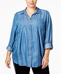 Style & Co Plus Size Denim Shirt, Only at Macy's