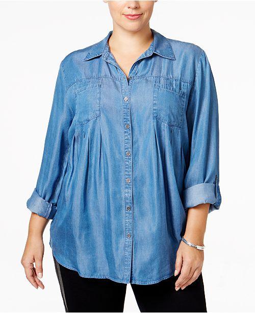 df7d7842379 ... Style   Co Plus Size Denim Shirt