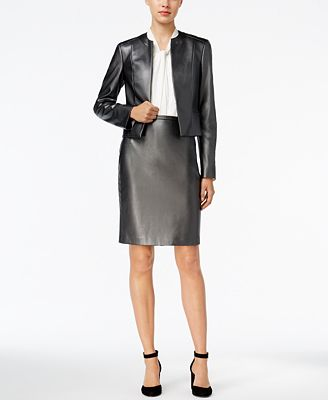 Tommy Hilfiger Faux-Leather Blazer, Shell & Straight Skirt