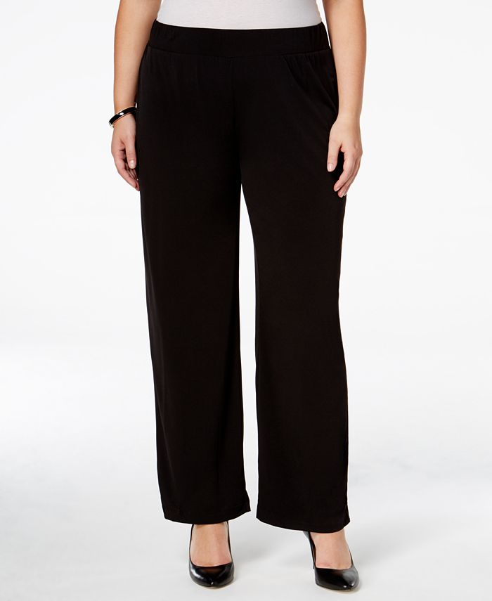 NY Collection - Plus Size Pull-On Wide-Leg Pants