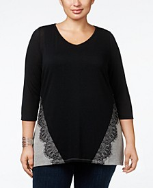Plus Size Lace-Appliqué Colorblock Tunic Top