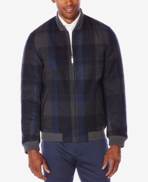Men's Vintage Style Coats and Jackets Perry Ellis Mens Plaid Bomber Jacket $54.96 AT vintagedancer.com