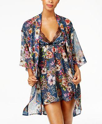 Flora Nikrooz Collette Printed Chiffon Chemise & Kimono Robe Separates