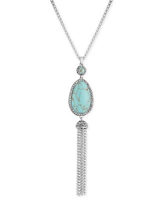 Lucky brand silver tone blue stone tassel lariat necklace for Macy s lucky brand jewelry