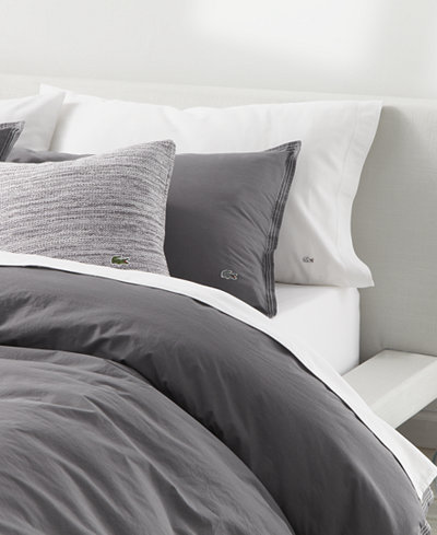 CLOSEOUT! Lacoste Home Relaxed & Washed Castle Rock Light Gray Full/Queen Duvet Set