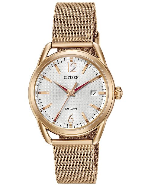 Citizen Drive from Citizen Eco-Drive Women's Rose Gold-Tone Stainless Steel Mesh Bracelet Watch 34mm FE6083-72A