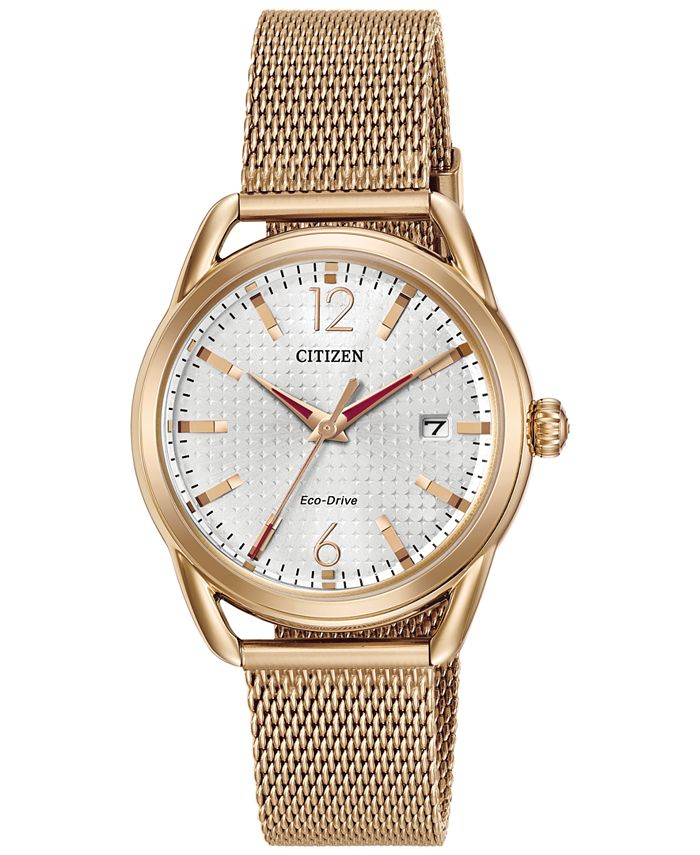 Citizen - Women's Drive Rose Gold-Tone Stainless Steel Mesh Bracelet Watch 34mm FE6083-72A